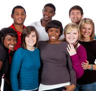 Stock Photo of multi-racial college students on white