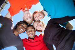 Stock Photo of faces of smiling multi-racial college students