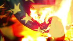 american flag burning burn - stock footage