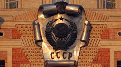 Moscow State University emblem of the USSR Stock Footage