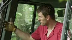 Digger driver 01 MCU Stock Footage