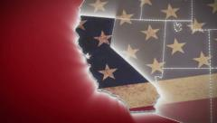 USA map, California pull out, all states available. Red background Stock Footage