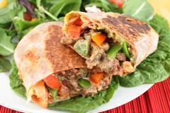mexican steak burrito - stock photo