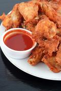 chicken wings and dip - stock photo
