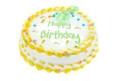 happy birthday  festive cake - stock photo