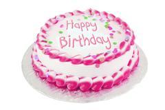 pink birthday cake - stock photo