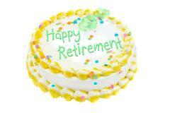 happy retirement festive cake - stock photo