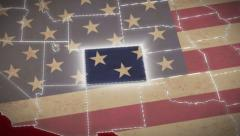 USA map, Colorado pull out, all states available. Red background - stock footage