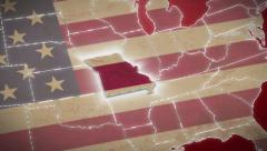 USA map, Missouri pull out, all states available. Red background - stock footage