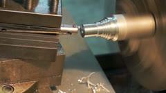 Turning lathe machine finishing face aluminum. - stock footage