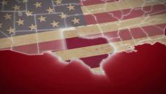 USA map, Texas pull out, all states available. Red background Stock Footage