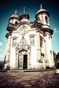 view of the igreja de sao francisco de assis of the unesco world heritage cit - stock photo
