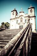 chico rei church in ouro preto - minas gerais - brazil - stock photo