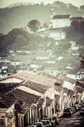 view of the unesco world heritage city of ouro preto in minas gerais brazil - stock photo