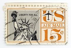 Vintage postage stamp US Airmail - stock photo