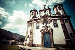 View of the igreja de nossa senhora do carmo of the unesco world heritage cit Stock Photos