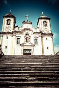 chico rei church in ouro preto - minas gerais - brazil - stock photo