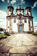 view of the igreja de nossa senhora do carmo of the unesco world heritage cit - stock photo