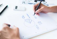 person calculation home budget - stock photo