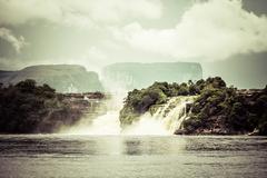 Waterfall and the lagoon of canaima national park - venezuela Stock Photos