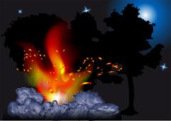 night bonfire - stock illustration