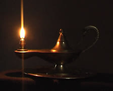 Old antique magic lamp burning010 Stock Footage