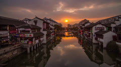 Sunset in Qibaozhen, Shanghai, China - stock footage