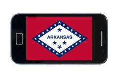 smartphone flag of american state of arkansas - stock photo