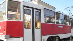 Evening tram acrossing Bolshaya Pokrovskaya street in the center Stock Footage
