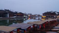 Day to Night shot of Zhujiajiaozhen, Shanghai Stock Footage