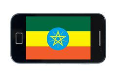 Smartphone national flag of ethiopia Stock Photos