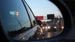 View from the rear-view mirror in the car Stock Footage