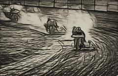 Seepia abstrakti lika raita sivuvaunu moottoripyörä racers Piirros
