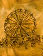 Abstract golden ferris wheel illustration Stock Illustration