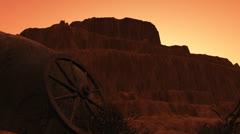 Desert - wagon wheel - sunrise2 Stock Footage