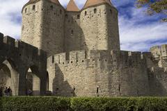 carcassonne-citadel, fortress, palace viscount and trankaveley - stock photo