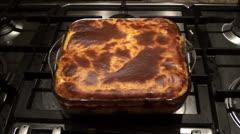 Fresh baked moussaka Stock Footage