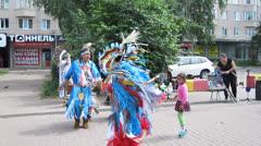 Native American Indian music and dance at Bolshaya Pokrovskaya street Stock Footage