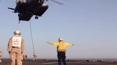 Marines Leaving CH53E with Ropes 03 Stock Footage
