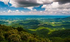 view of the shenandoah valley from jewell hollow overlook in shenandoah natio - stock photo