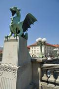 Ljubljana Dragon Bridge Stock Photos