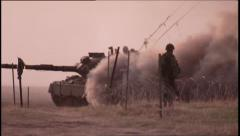 Military, Tank driving with smoke screen - stock footage