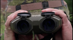 Military, Soldier looking through binoculars Stock Footage