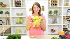 Healthy Caucasian Girl Bowl Fresh Fruit - stock footage