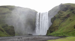 Skogafoss is a waterfall situated in the south of Iceland.  It is one of the - stock footage