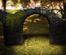 stone arch fantasy background - stock illustration