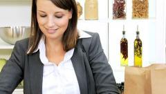 Caucasian Businesswoman Shopping Bag Fresh Fruit Stock Footage