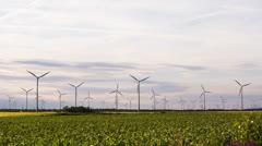 Wind turbines at dusk - stock footage