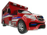 Stock Illustration of ambulance: wide angle view of emergency services vehicle on white