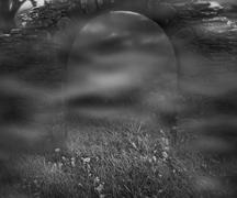 stone arch dark fantasy backdrop - stock illustration
